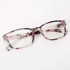 Transparent Ink Blot Rectangle Clear Lens Frames - Purple,