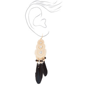 "Gold 4"" Fancy Filigree Feather Drop Earrings - Black,"
