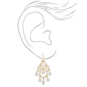 """Glass Rhinestone 2"""" Chandelier Drop Earrings - Opal,"""