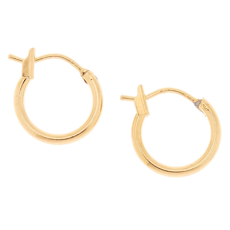 18kt Gold Plated 12mm Hinged Hoop Earrings,