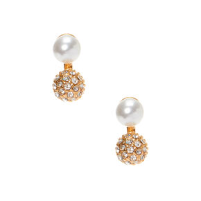 Gold Pearl & Fireball Stud Earrings,