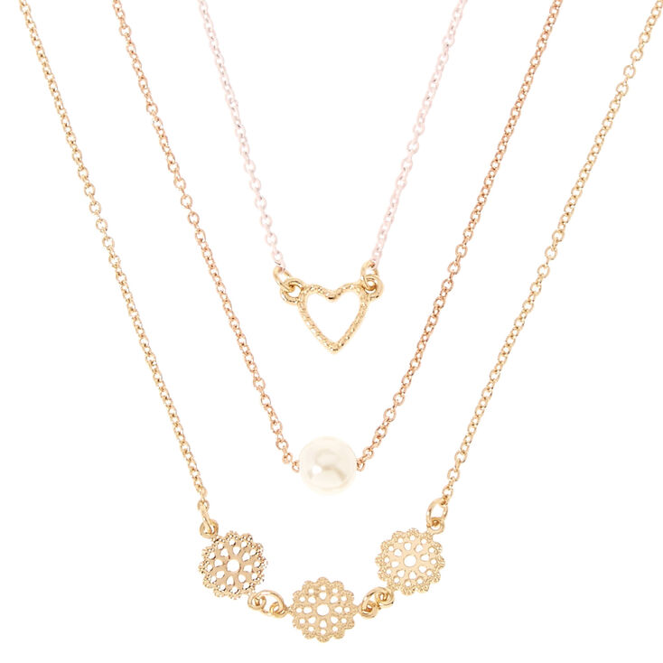 Gold-Tone Triple Layer Heart, Pearl & Filigree Necklace,