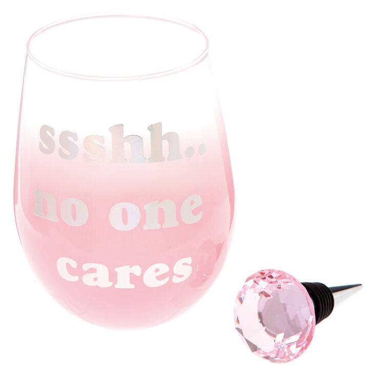 No One Cares Wine Glass & Stopper Set - Pink, 2 Pack,