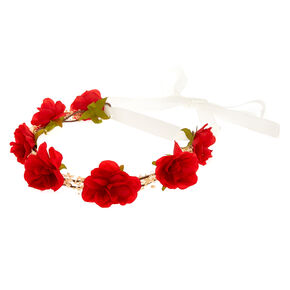 Red Rose Baby Breath Tie Headwrap,
