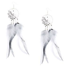 "6"" Yin & Yang Dreamcatcher Drop Earrings,"