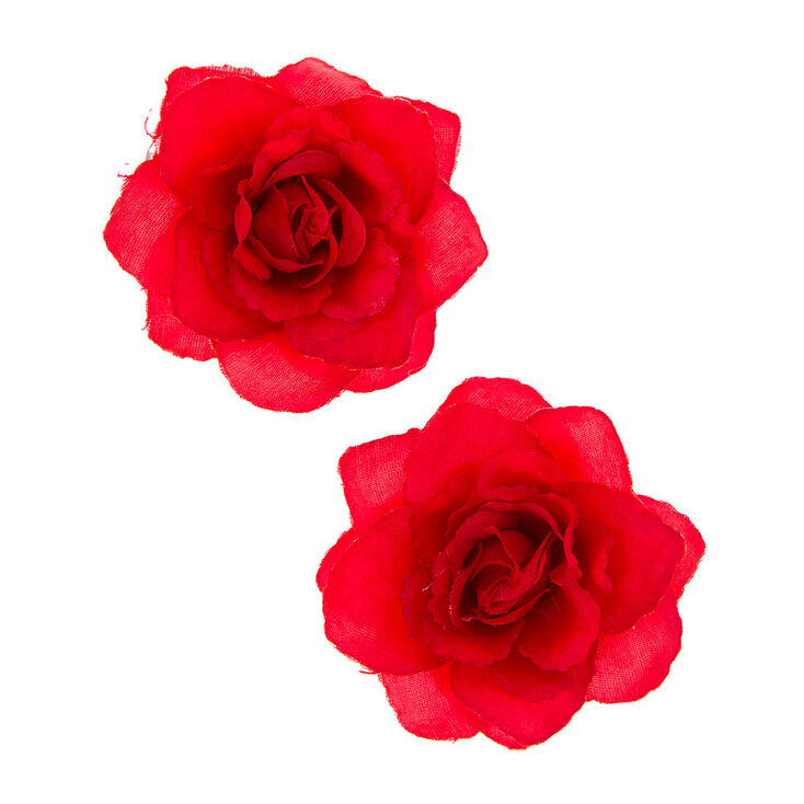Red Rose Hair Clips,