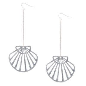 "Silver 4"" Glitter Seashell Drop Earrings,"