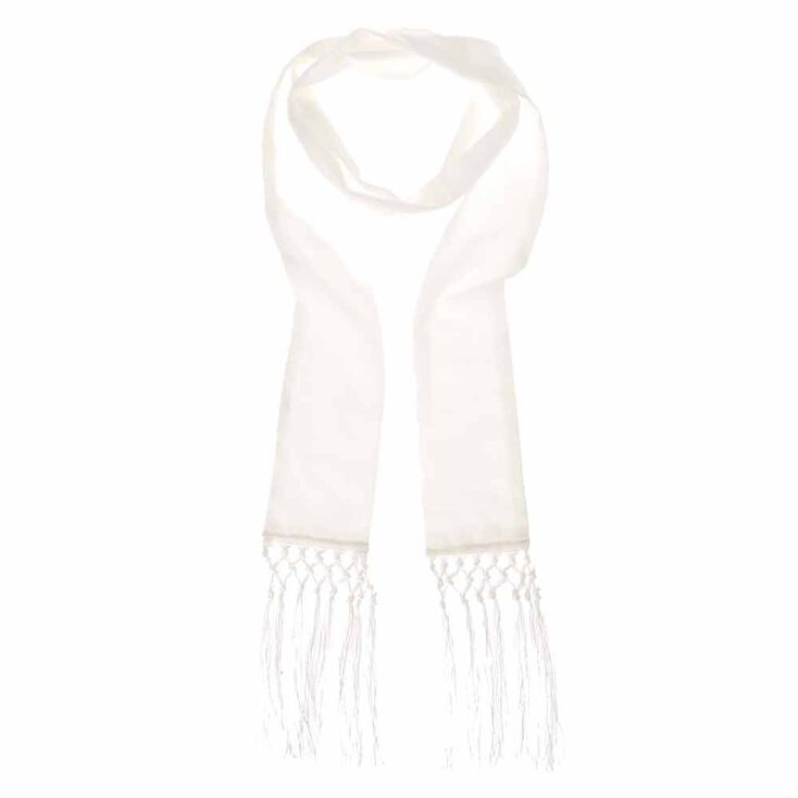 White Long Skinny Scarf,