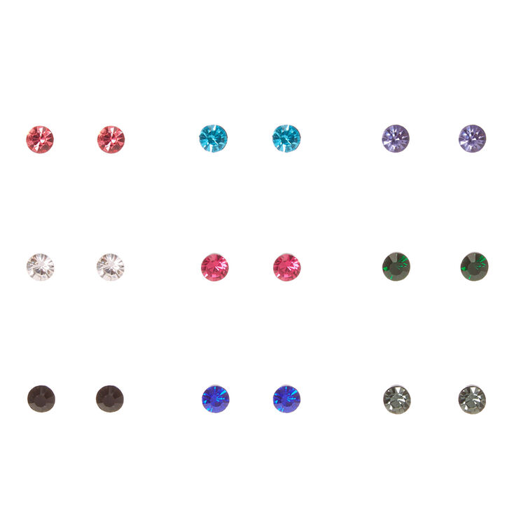 6MM Black Framed Round Colored Crystal Stud Earrings,