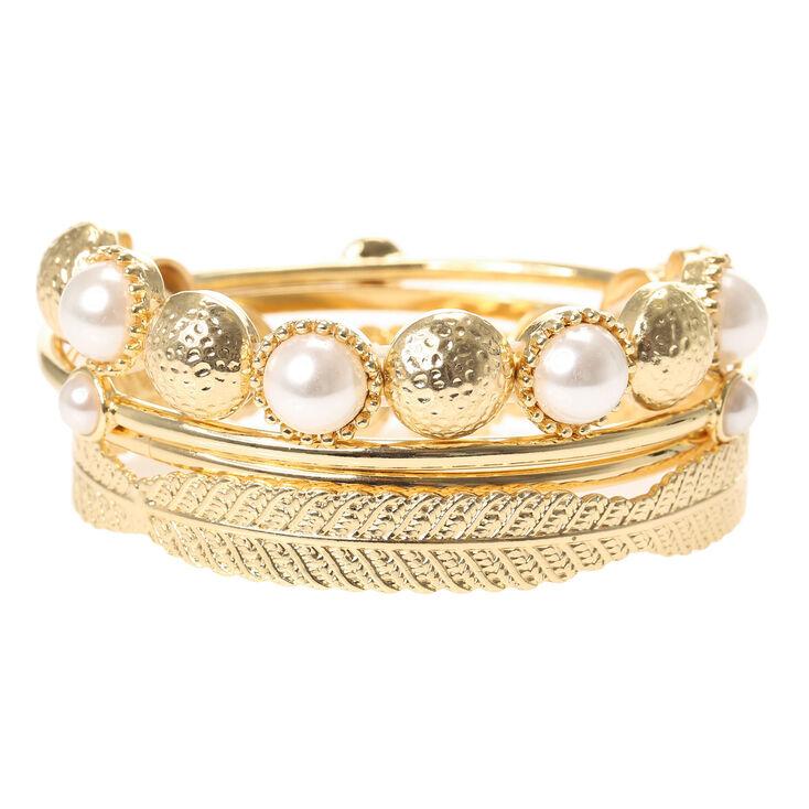 Gold & Pearl Bangle Bracelets,