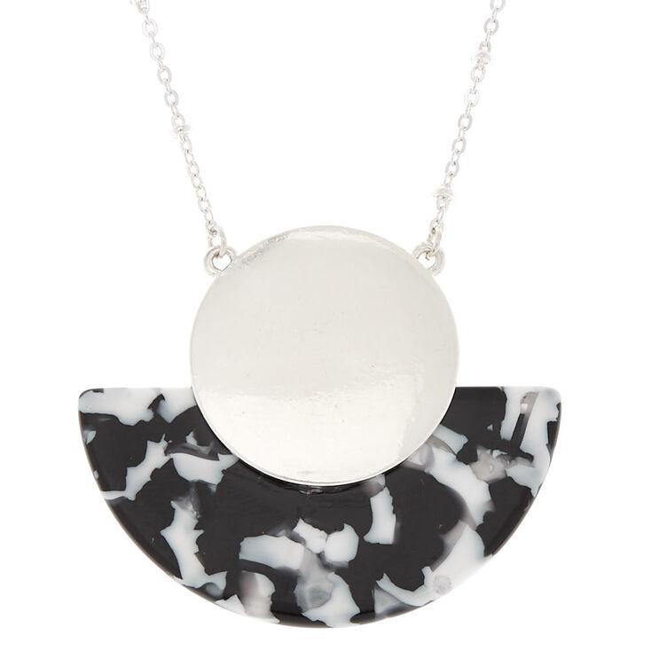 Black & White Resin Half Moon Long Pendant Necklace,