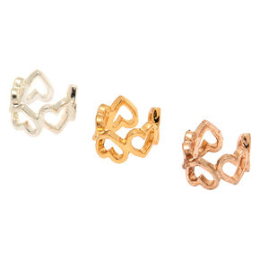 Mixed Metal Heart Ear Cuffs - 3 Pack,