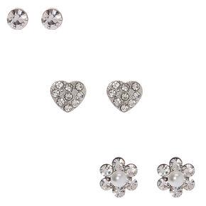 Silver Embellished Flower Heart Stud Earrings - 3 Pack,