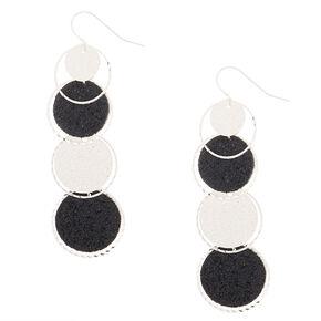 """2"""" Glitter Disk Drop Earrings - Black,"""