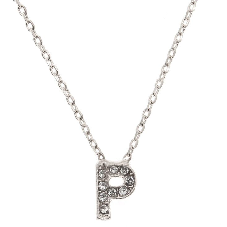 "Silver Studded ""P"" Initial Necklace,"