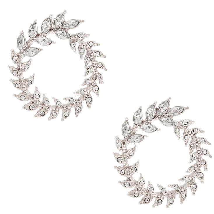 Silver Rhinestone Wreath Stud Earrings,