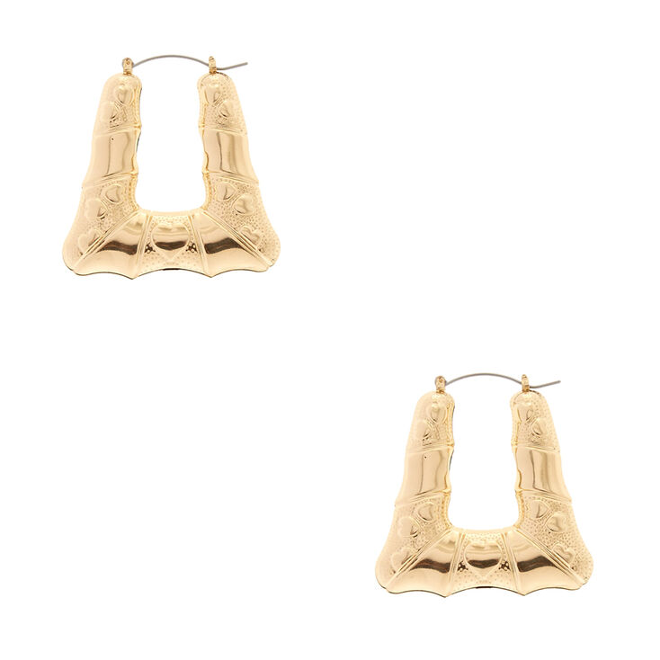 Gold Tone Flared Bamboo Squared Hoop Earrings,