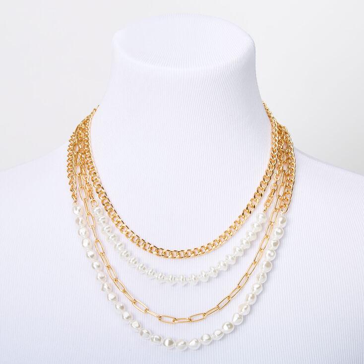 Gold Pearl Chain Multi Strand Necklace,