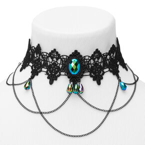 Lace Anodized Crystal Choker Necklace - Black,