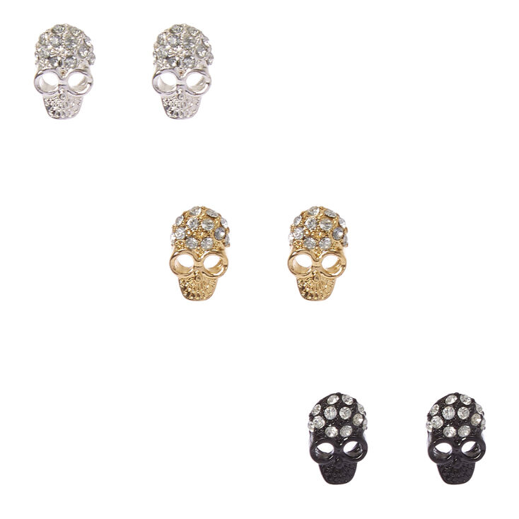 Mixed Metal Skull Stud Earrings,