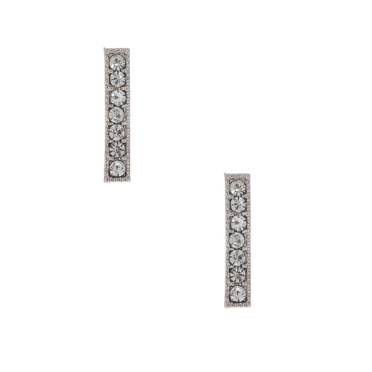 Silver Crystal Bar Stud Earrings,