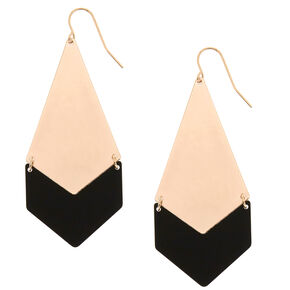 "Rose Gold 2.5"" Pink & Black Geometric Drop Earrings,"