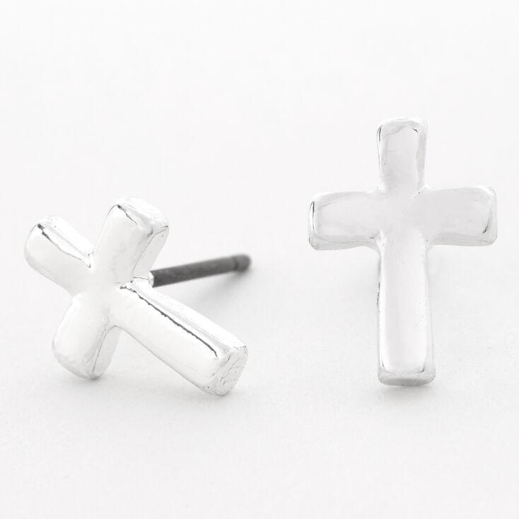 Silver Cross Stud Earrings,