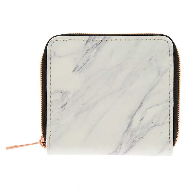 Marble Mini Zip Wallet - White,