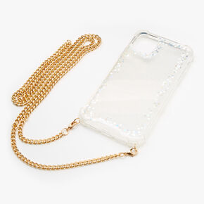 Iridescent Glitter Phone Case with Gold Chain - Fits iPhone 11,