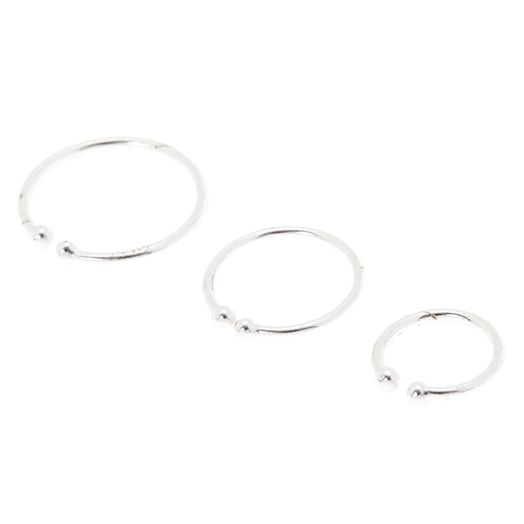 Sterling Silver Faux Nose Rings - 3 Pack,