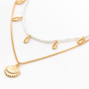 Gold & Pearl Seashell Multi Strand Choker Necklace,