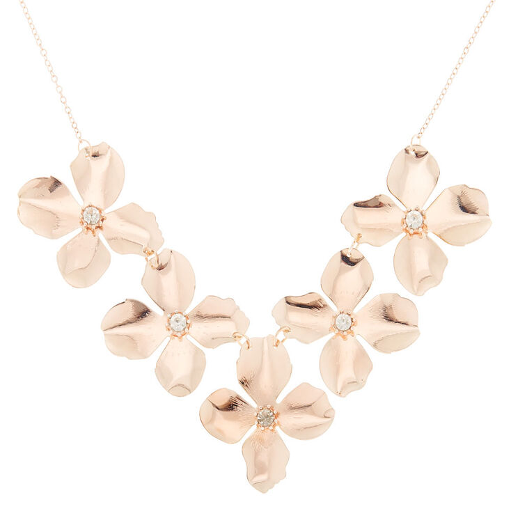 Rose Gold Flower Petal Statement Necklace,