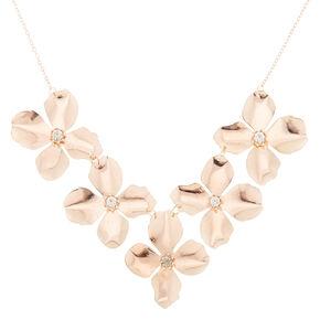 Rose Gold Large Flower Petal Statement Necklace,