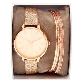 Rose Gold Glitter Classic Watch Set - 4 Pack,