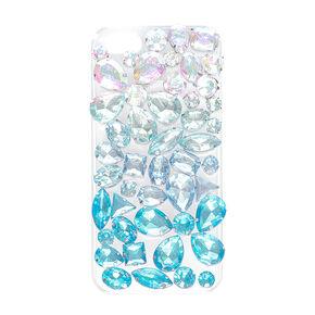 Blue Jeweled Clear Phone Case,
