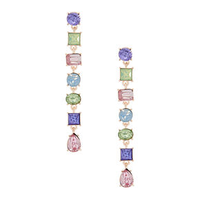 "2.5"" Jewel Tone Drop Earrings,"