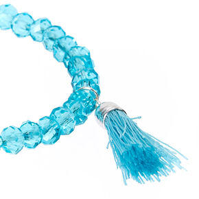 Turquoise Faceted Bead with Tassel Charm Stretch Bracelet,