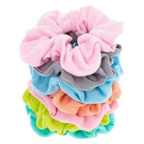 Pastel Rainbow Hair Scrunchies - 7 Pack,