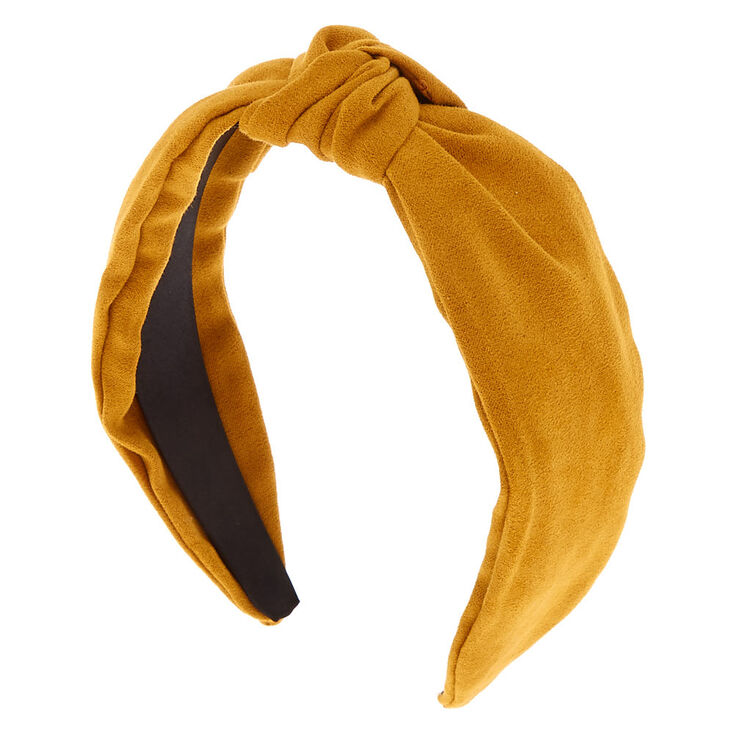 50s Hair Bandanna, Headband, Scarf, Flowers | 1950s Wigs Icing Knotted Suede Headband - Mustard $7.99 AT vintagedancer.com
