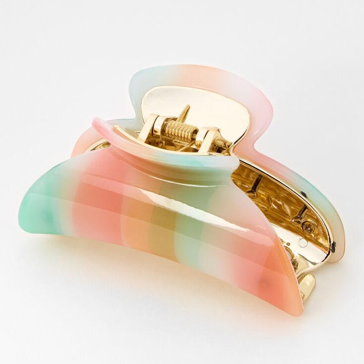 Medium Rainbow Watercolor Hair Claw - Pastel,