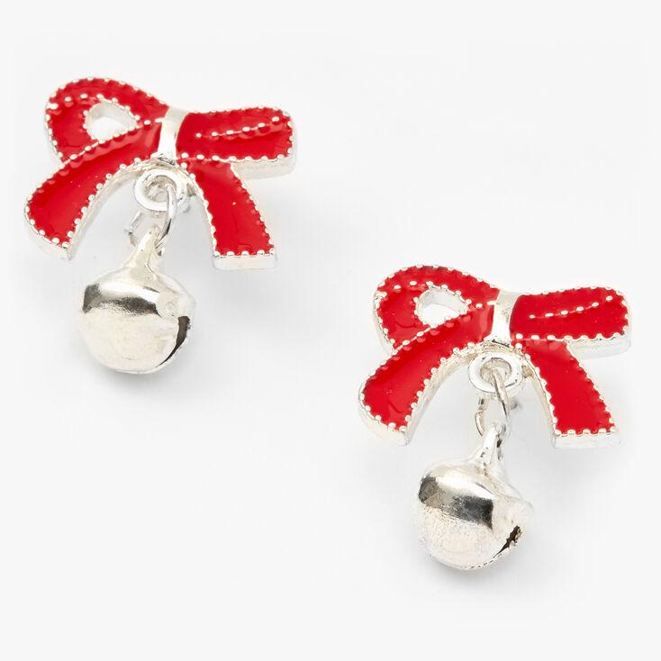 Silver Jingle Bell Bow Stud Earrings - Red,