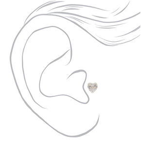Silver 16G Cubic Zirconia Heart Tragus Stud,