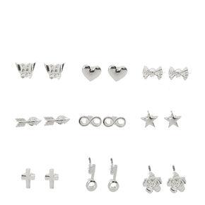 Silver Tone Mini Shape Stud Earrings,