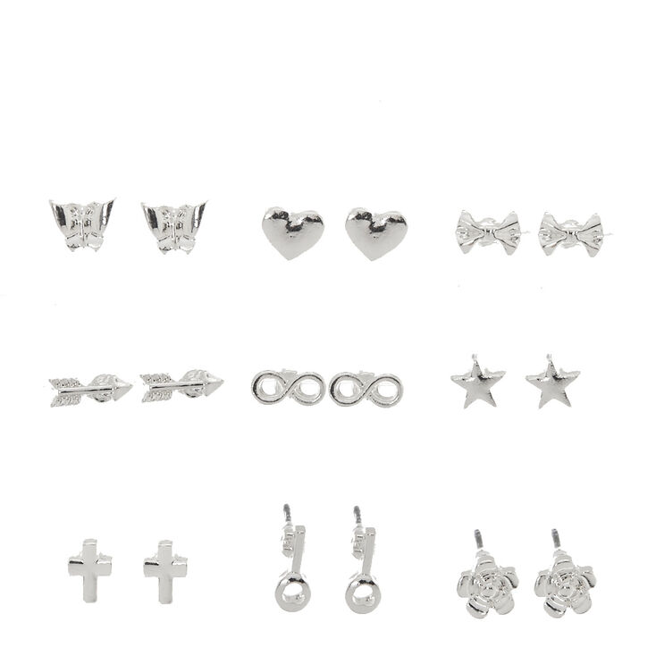 Silver Tone Mini Shape Stud Earrings,