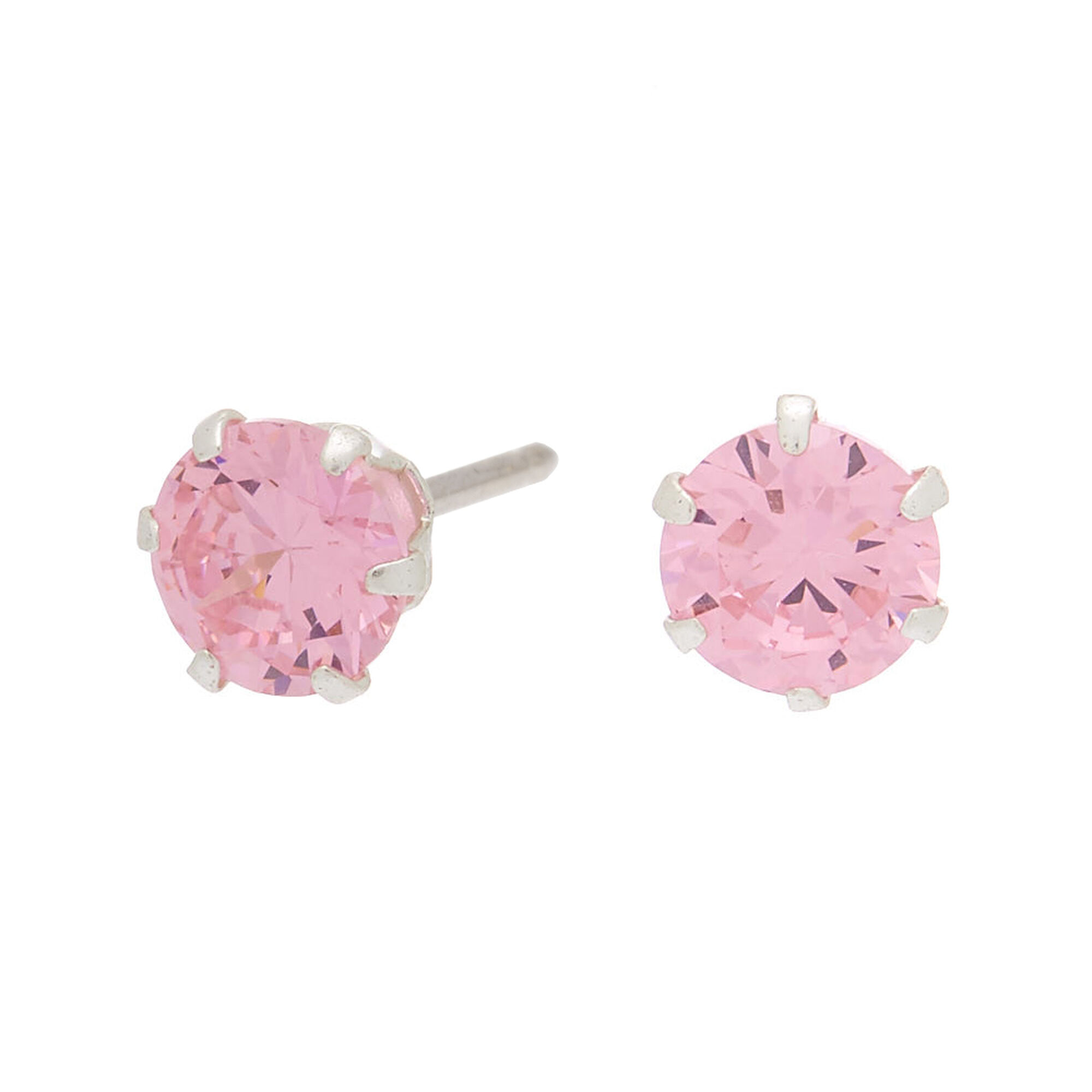 Sterling Silver Cubic Zirconia Stud Earrings Pink