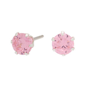 Sterling Silver Cubic Zirconia Stud Earrings - Pink,