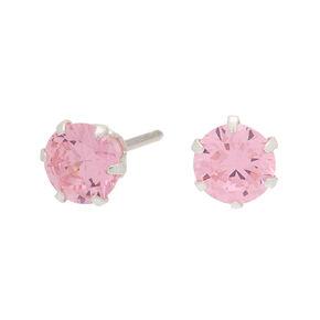 Sterling Silver Cubic Zirconia Stud Earrings - Pink,