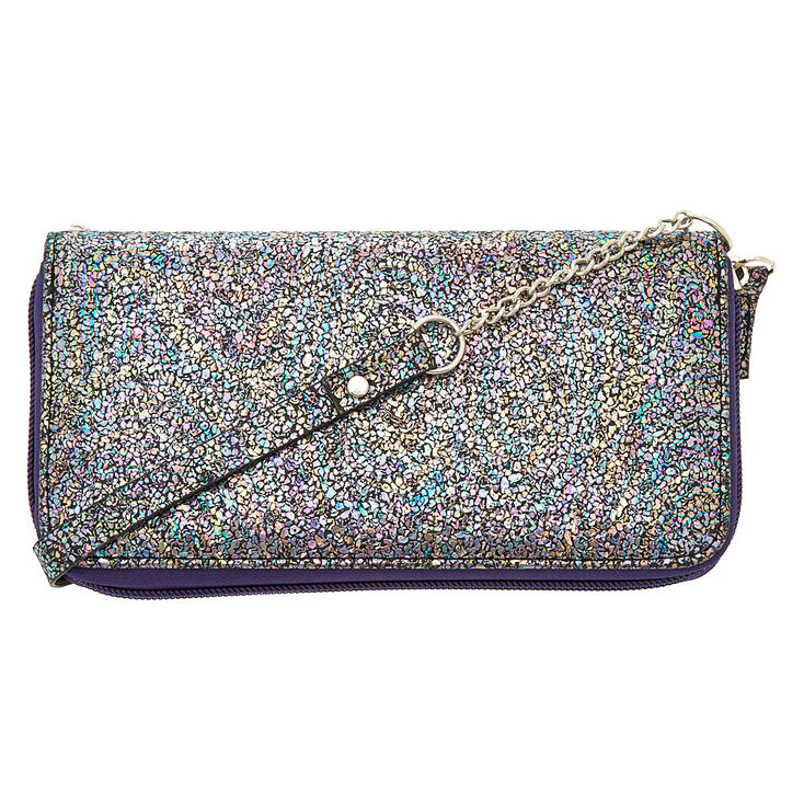 Oil Slick Crossbody Wallet - Purple,