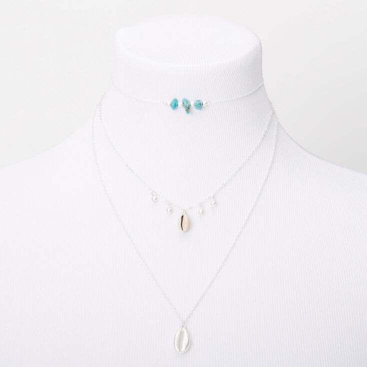 Beaded Cowrie Shell Multi Strand Choker Necklace - Turquoise,