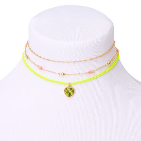 Gold Neon Choker Necklaces - 3 Pack,